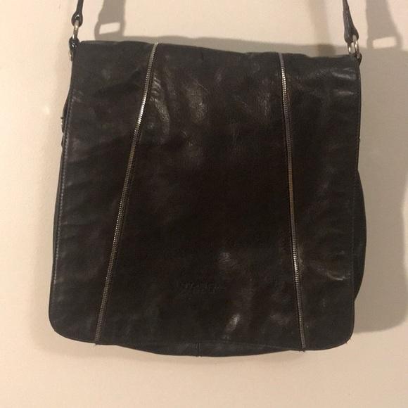 d496017fae11 Tosca Blue RARE large leather flap crossbody bag